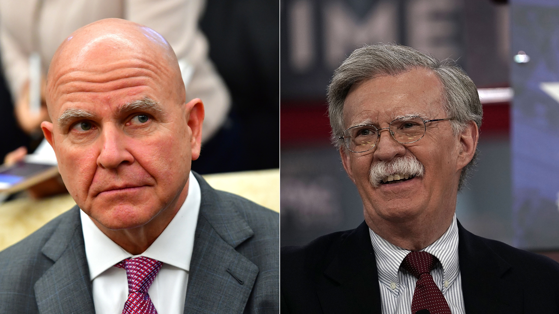 National Security Adviser H.R. McMaster (left) attends a meeting at the Oval Office on March 20, 2018. Former U.S. Ambassador to the United Nations John Bolton (right) speaks during CPAC 2018 February 22, 2018 in National Harbor, Maryland. (Credit: Kevin Dietsch-Pool and Alex Wong/Getty Images)