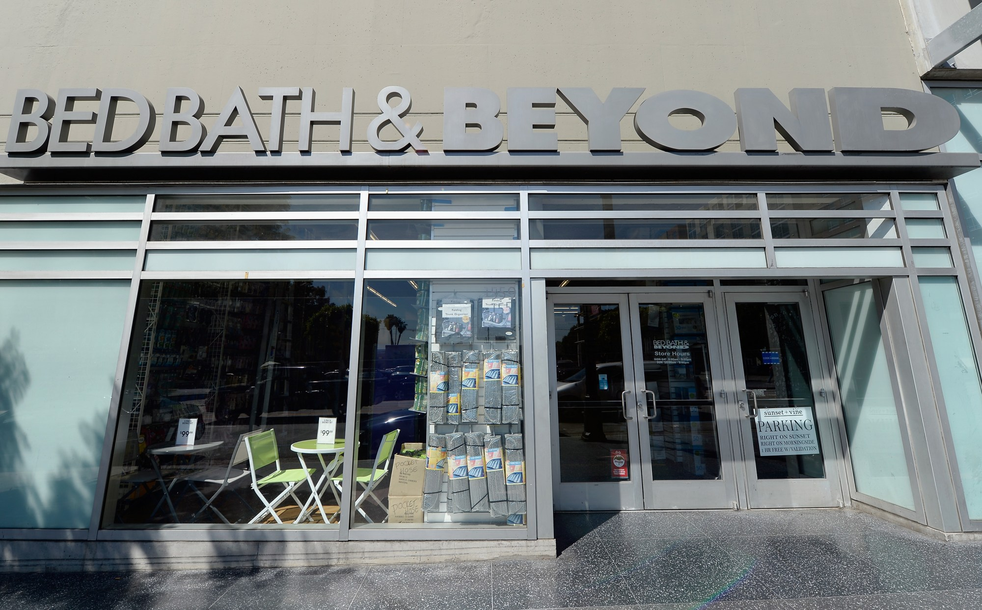A sign at a Bed Bath & Beyond store is seen on April 10, 2013 in Los Angeles, California. (Kevork Djansezian/Getty Images)