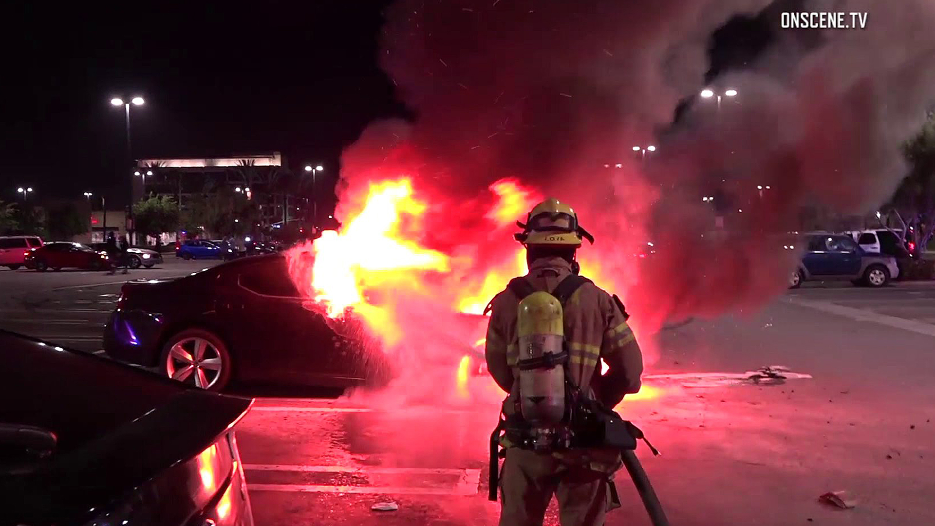 Firefighters respond to a car fire in Anaheim on June 11, 2018. (Credit: OnScene.TV)