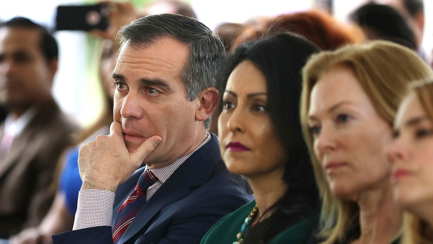 Mayor Eric Garcetti, left, and City Councilwoman Nury Martinez, center, listen to a panel of women discuss their experiences with sexual harassment in the workplace during the Getty House Foundation Women's Leadership Series in Los Angeles on April 30, 2018. (Credit: Christina House / Los Angeles Times)