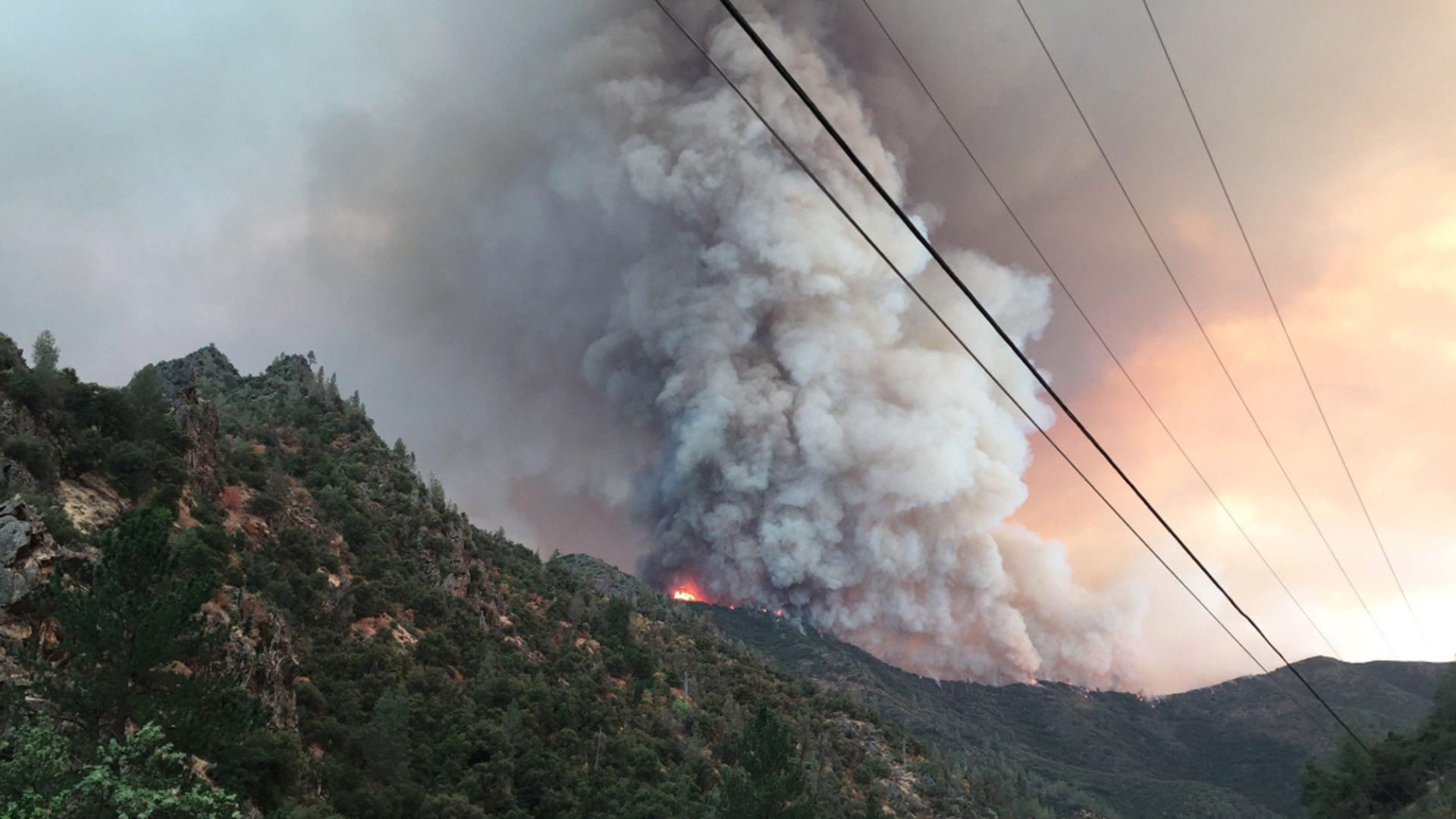The Ferguson Fire is shown in an image tweeted by Cal Fire on July 16, 2018. (Credit: Cal Fire via Sierra National Forest)