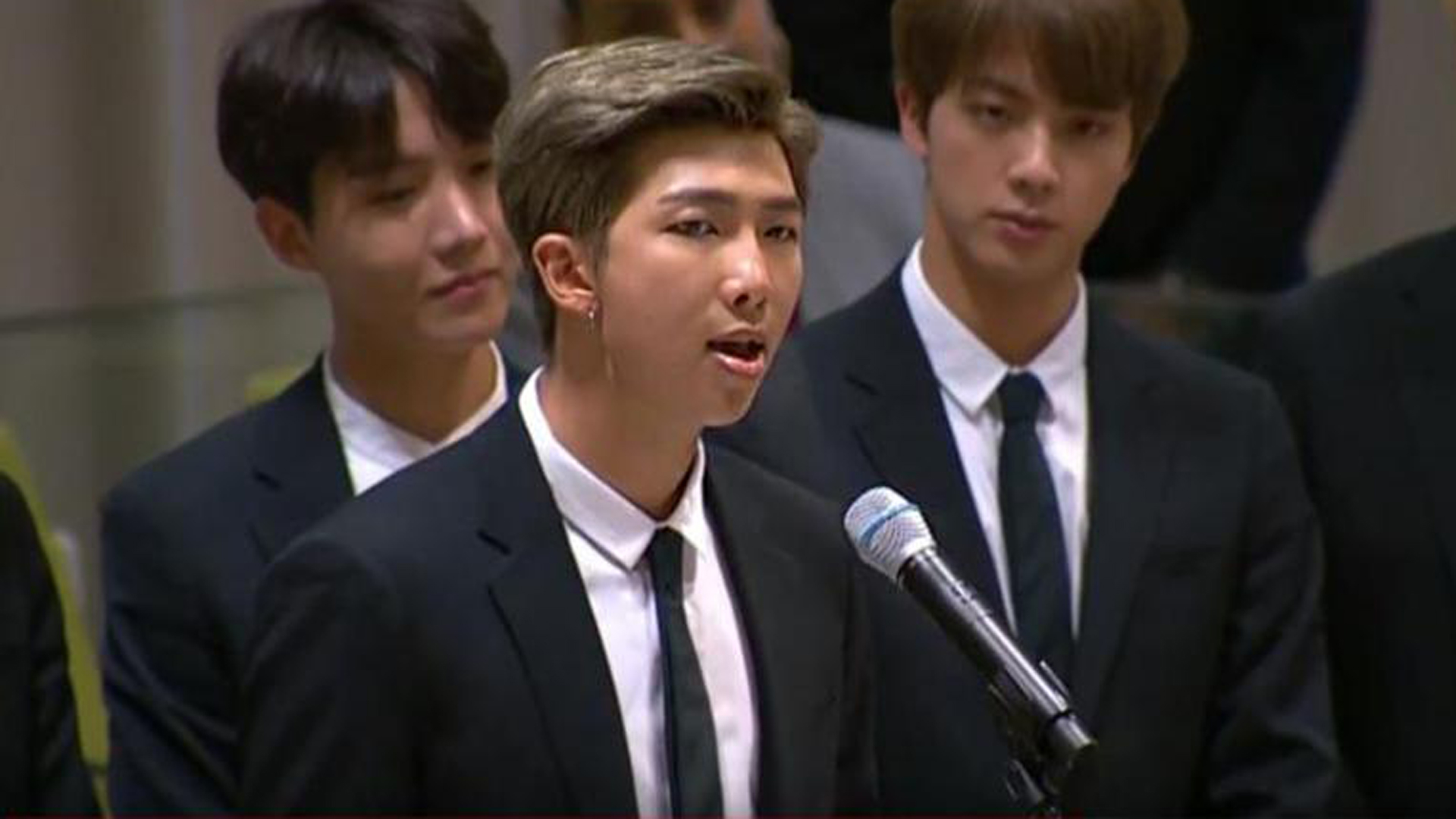 K-pop band BTS address the UN General Assembly in New York. (Credit: UNTV)