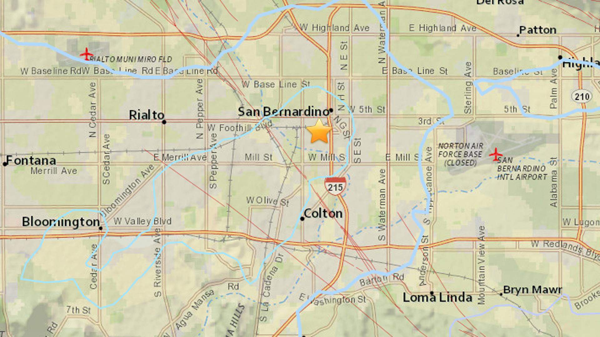 An earthquake struck in San Bernardino Thursday morning. (Credit: USGS)