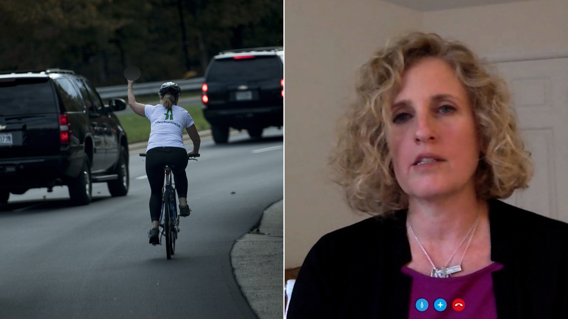 At left, Juli Briskman gestures with her middle finger as a motorcade with U.S. President Donald Trump departs Trump National Golf Course Oct. 28, 2017, in Sterling, Virginia. At right, she is seen speaking to CNN via Skype on Nov. 6, 2017.(Credit: Brendan Smialowski / AFP / Getty Images and CNN)