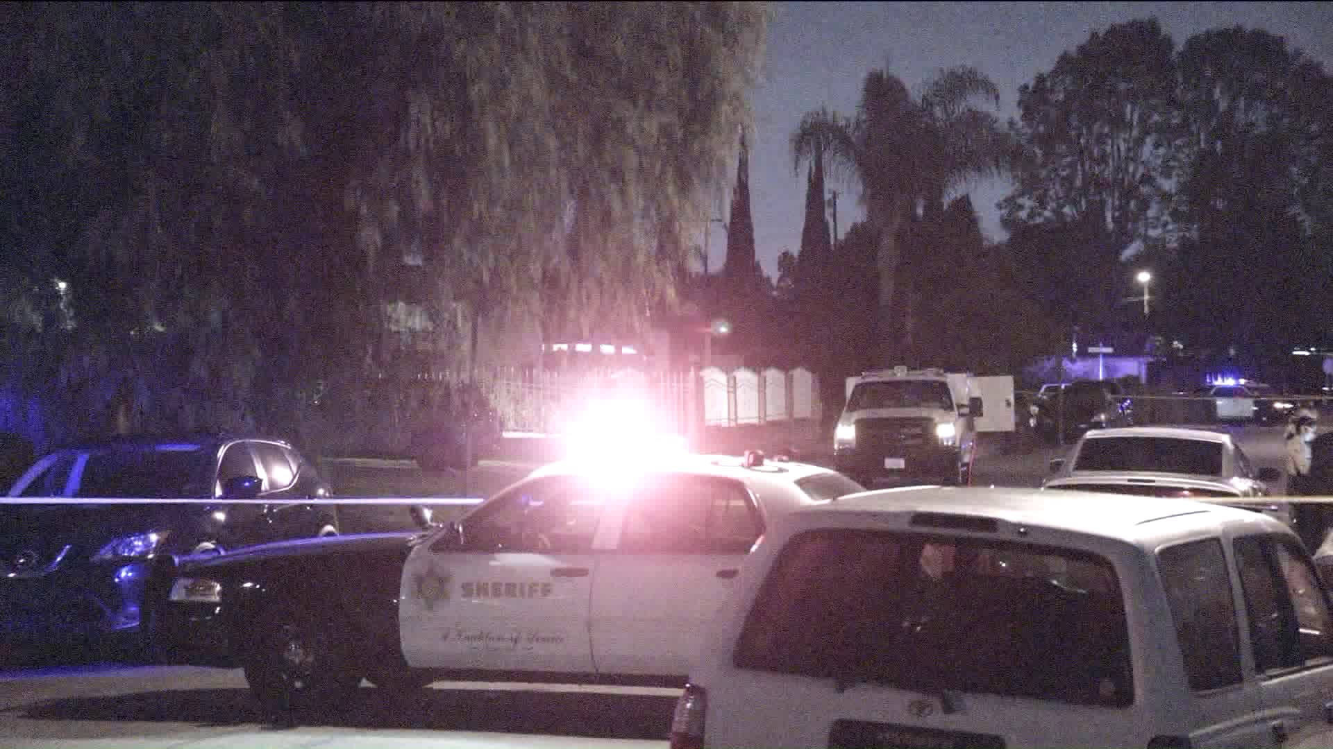 Authorities respond to an apparent murder-suicide in Valinda on Sept. 10, 2018. (Credit: KTLA)