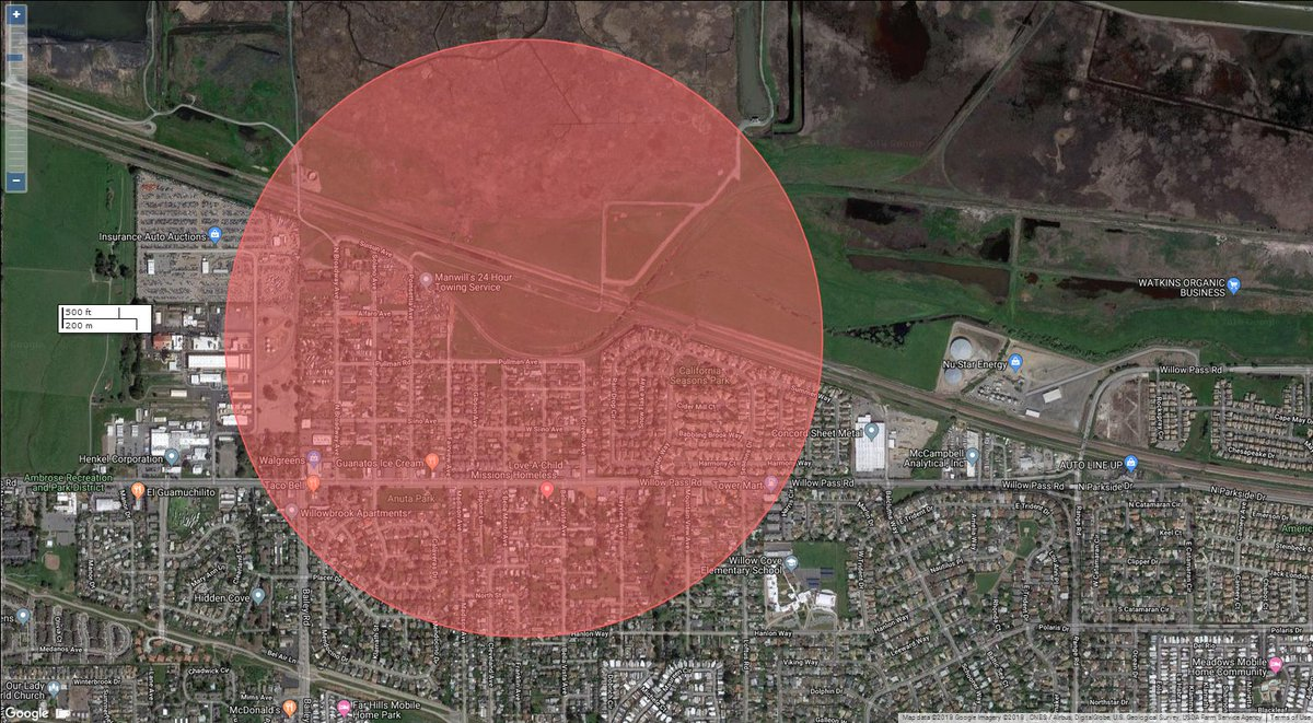 The Contra Costa County Fire Protection District tweeted this image indicating an area evacuated on Oct. 18, 2018 due to a fire threatening a pipeline.