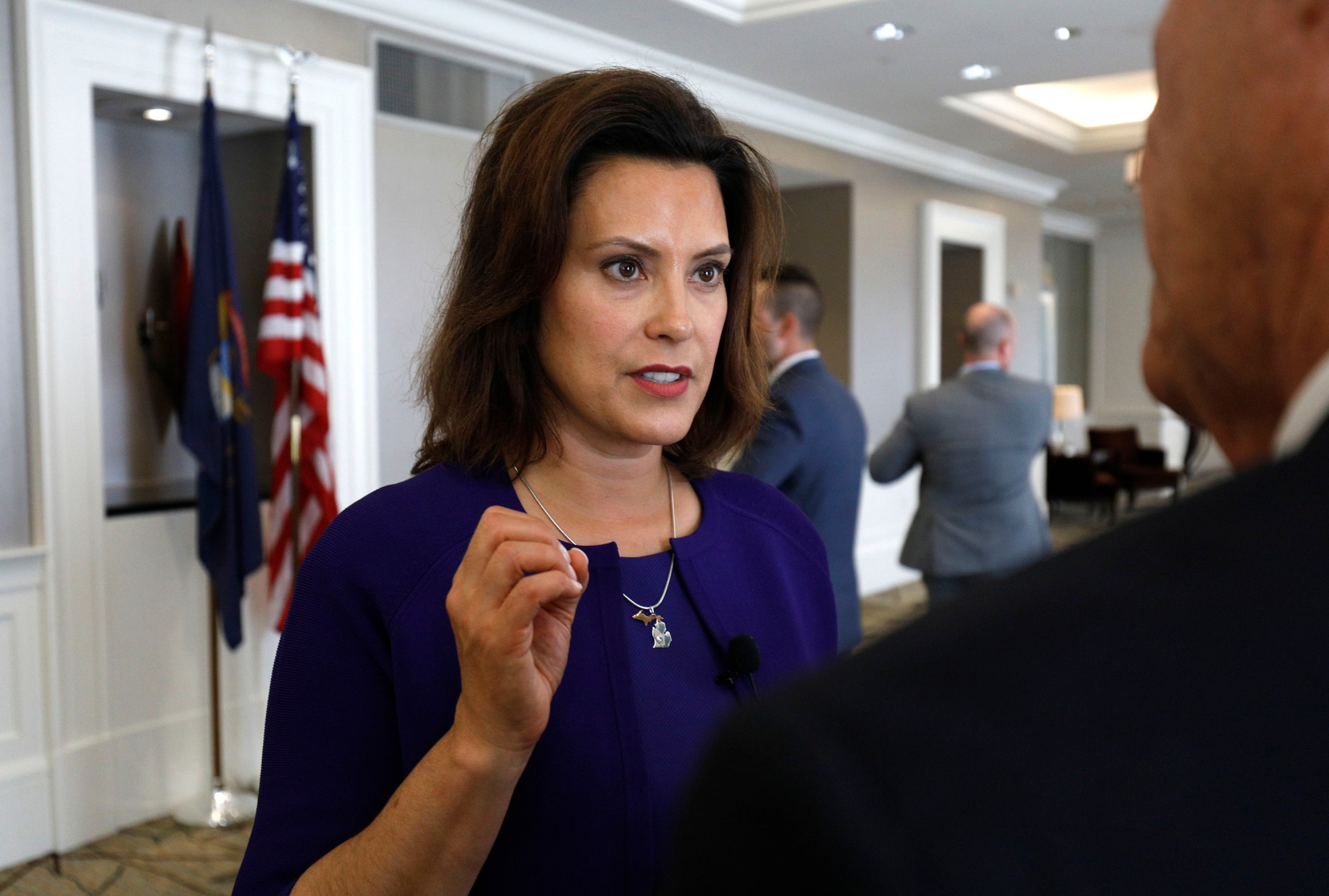 Gretchen Whitmer speaks with a reporter after a Democrat Unity Rally at the Westin Book Cadillac Hotel Aug. 8, 2018 in Detroit, Michigan. (Credit: Bill Pugliano/Getty Images)