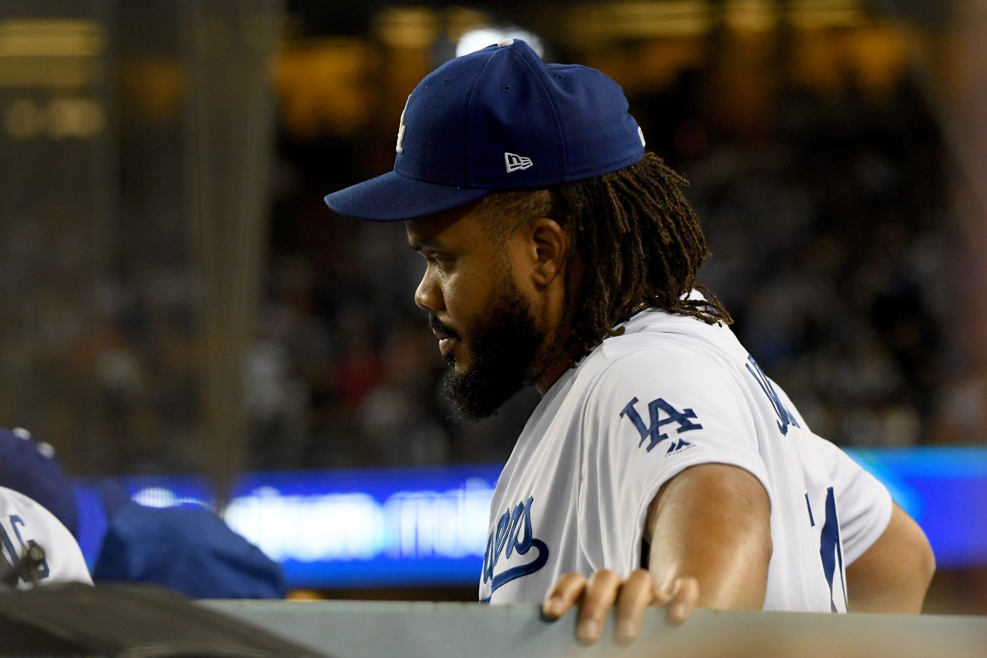 Kenley Jansen of the Los Angeles Dodgers looks on from the dugout during the ninth inning against the Boston Red Sox in Game Five of the 2018 World Series at Dodger Stadium on Oct. 28, 2018 in Los Angeles. (Harry How/Getty Images)
