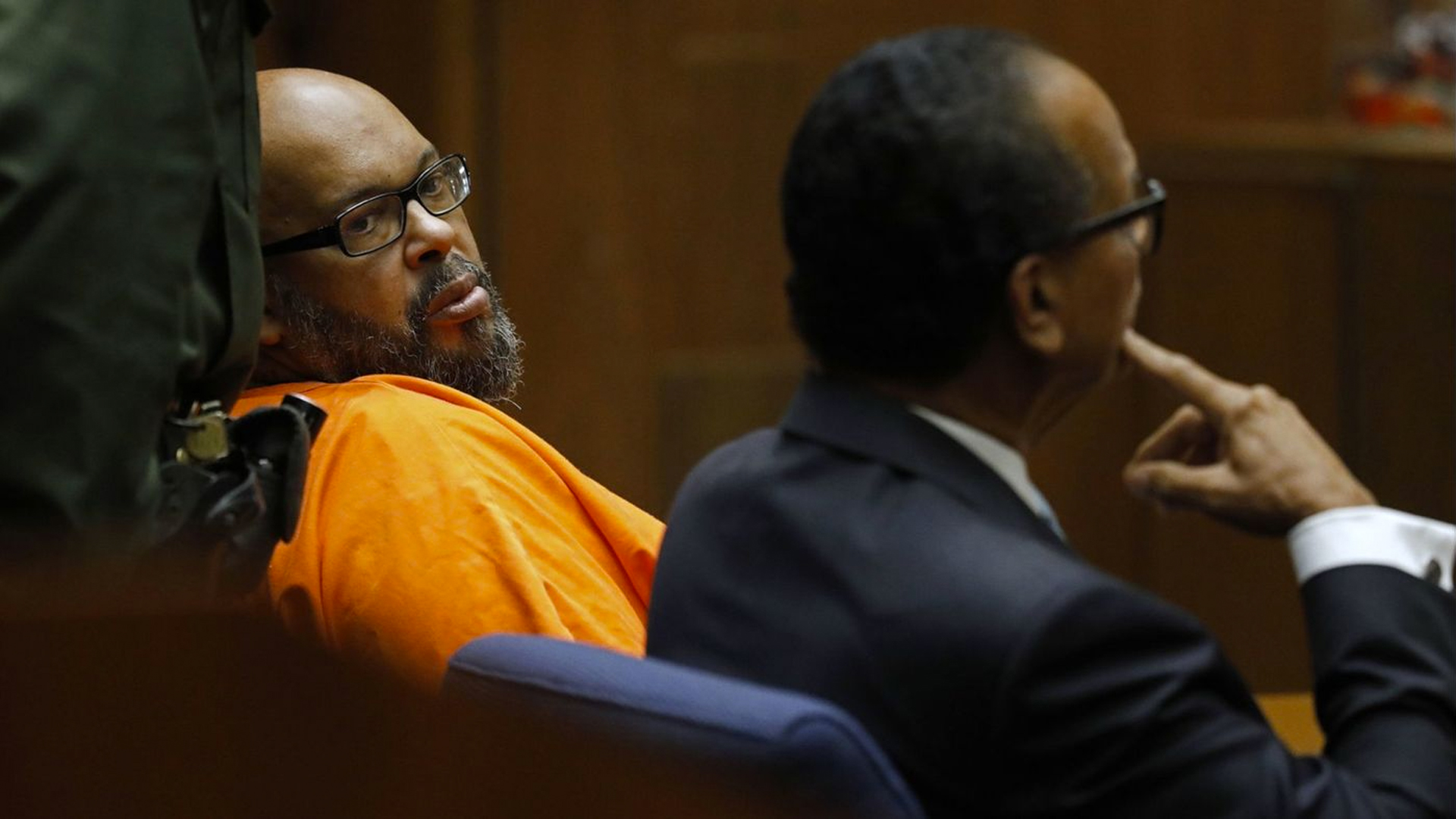 "Marion ""Suge"" Knight, pictured here at a court hearing where he pleaded no contest to voluntary manslaughter, is expected to be sentenced Thursday to up to 28 years in prison. (Credit: Gary Coronado / Los Angeles Times)"