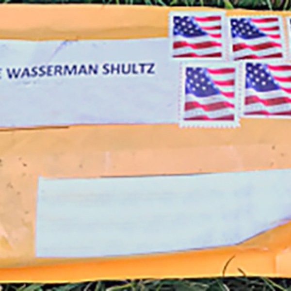 """The FBI released this image Oct. 24, 2018, with the caption: """"Exterior of one of the suspicious packages. Addresses have been removed to protect privacy."""""""