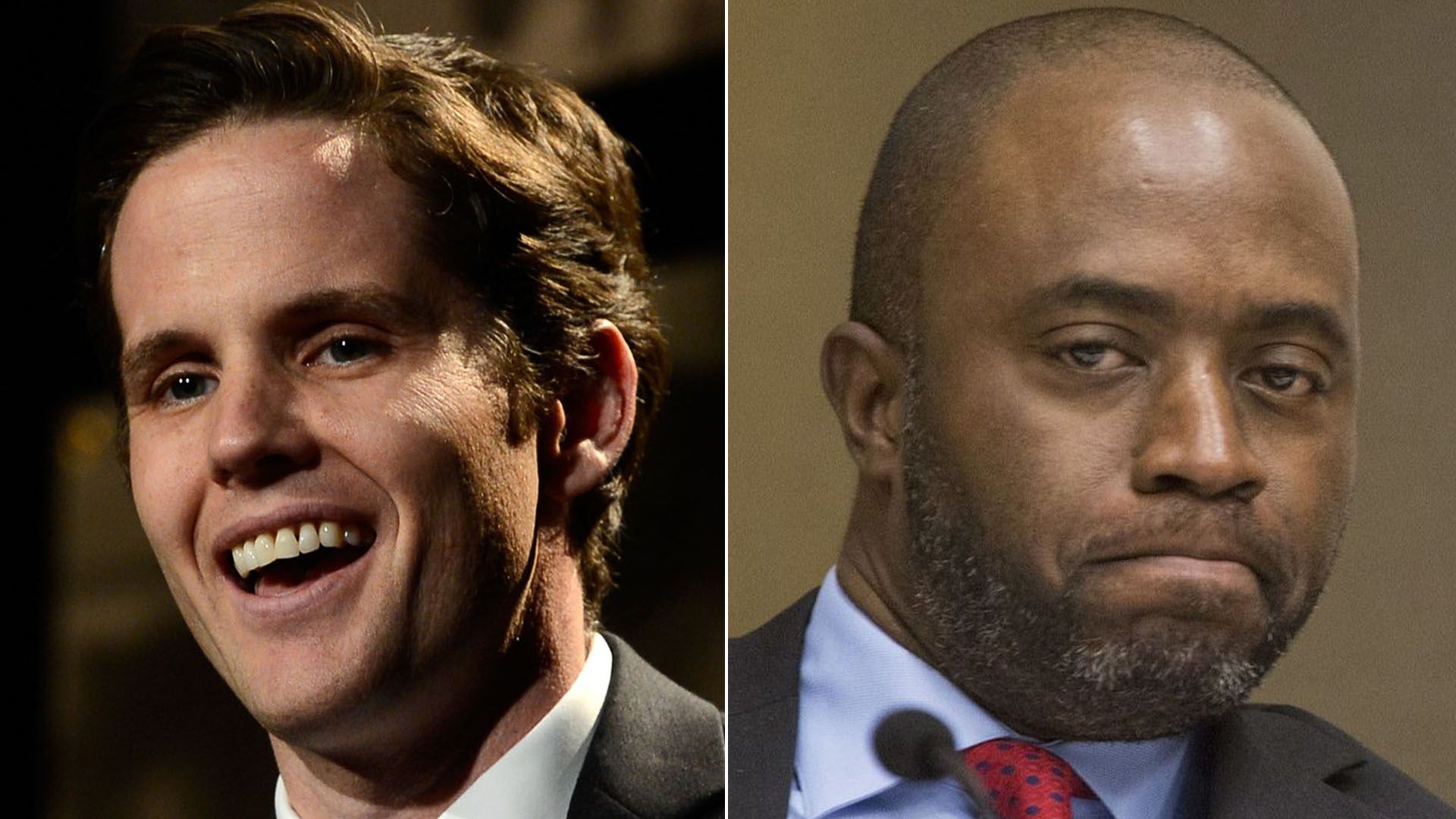 Marshall Tuck, left, attends the Alliance For Children's Rights' 21st annual dinner at the Beverly Hilton Hotel on March 7, 2013 in Beverly Hills. Tony Thurmond, right, is seen during a California State Assembly Committee on Budget meeting in Sacramento on Jan. 20, 2016. (Credit: Frazer Harrison/Getty Images; Los Angeles Times)