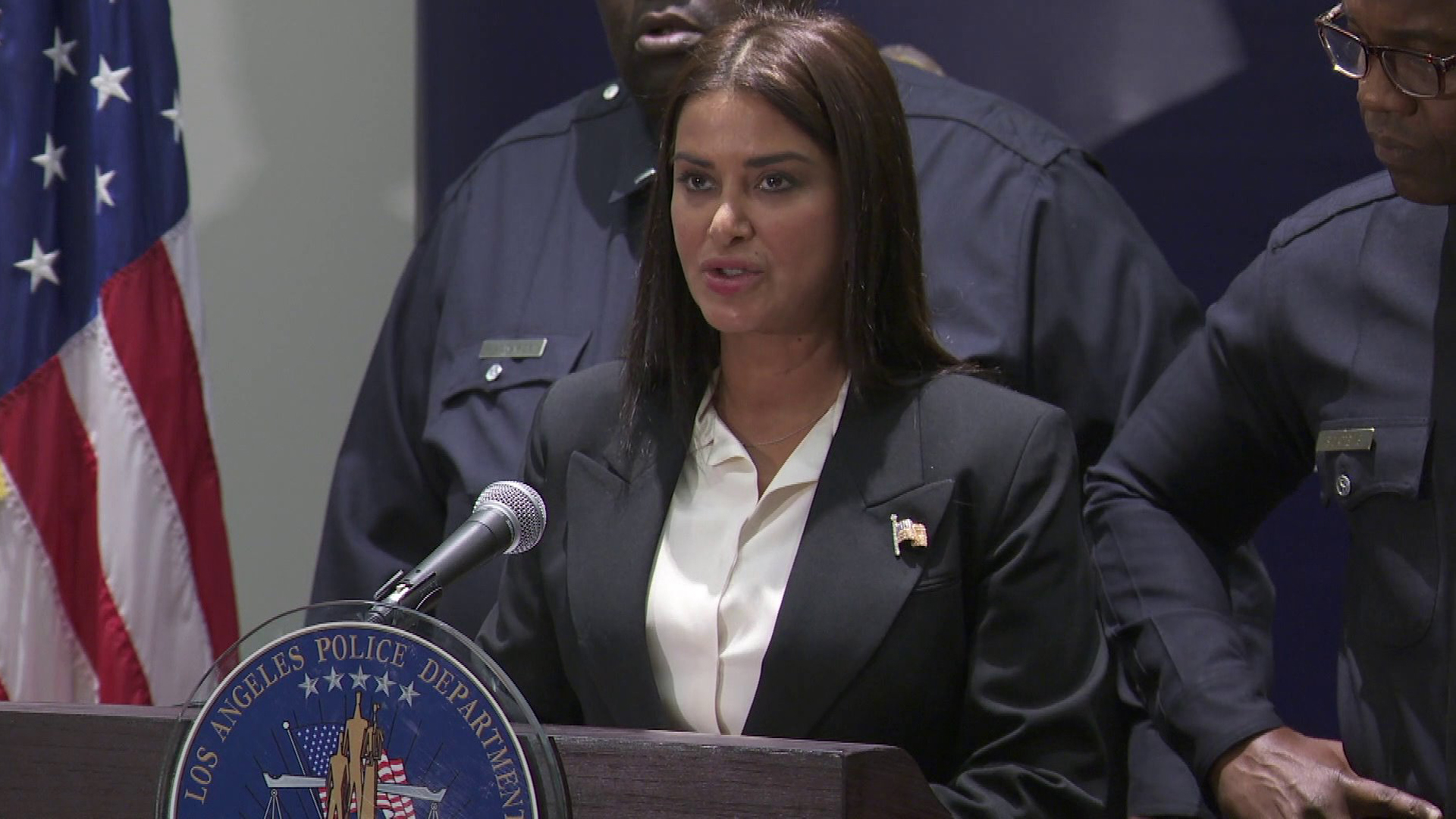 Los Angeles Police Capt. Lillian Carranza speaks during a press conference on Oct. 2, 2018. (Credit: KTLA)