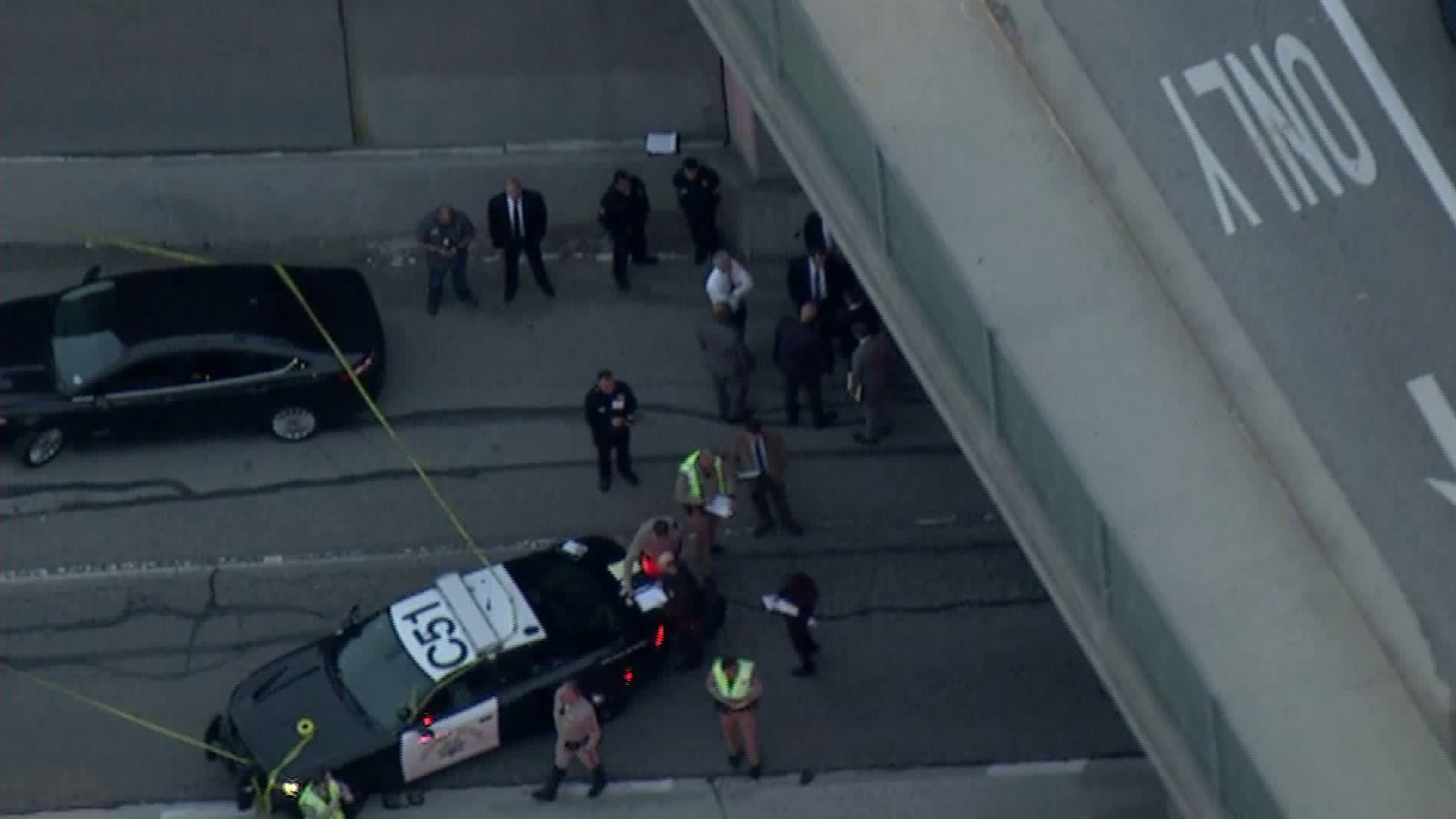 Authorities were investigating after a pedestrian died along the 101 Freeway in downtown Los Angeles on Feb. 12, 2019. (Credit: KTLA)