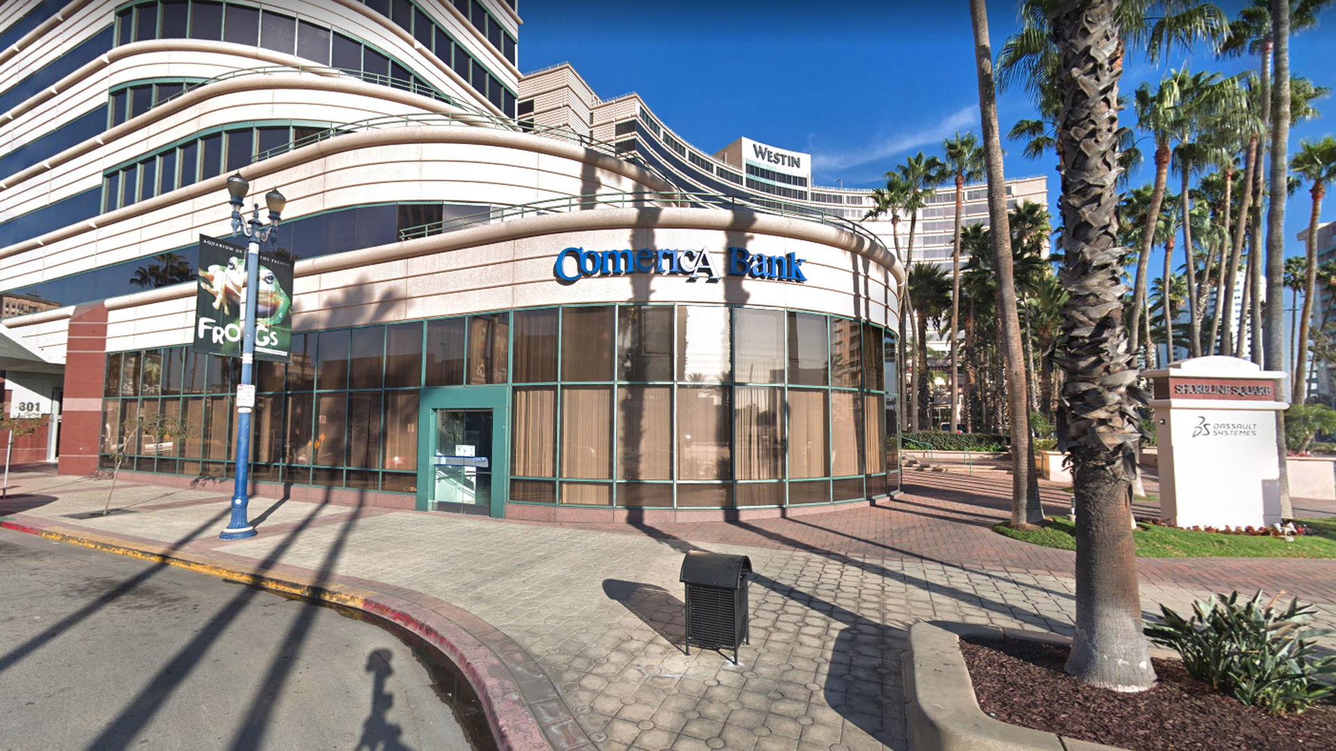 Comerica Bank, 301 East Ocean Ave. in Long Beach, as viewed in a Google Street View image in December of 2017.