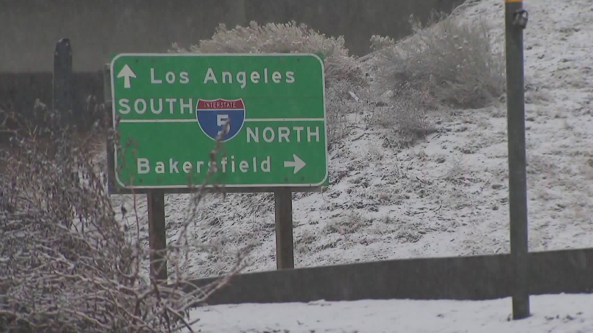 A sign for the 5 Freeway is seen on Feb. 11, 2019. (Credit: KTLA)