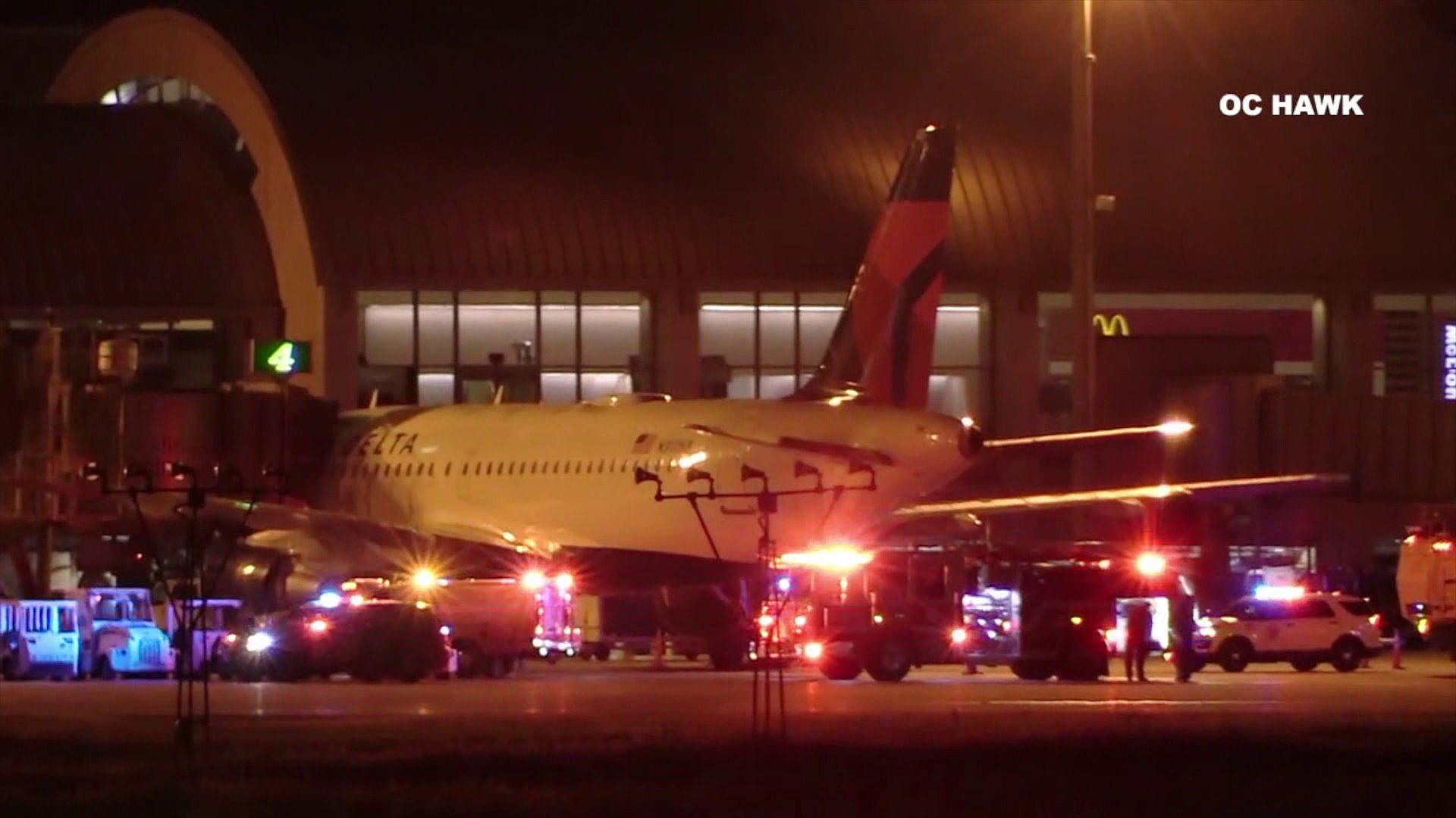 Emergency crews at John Wayne Airport respond on Feb. 19, 2019. (Credit: OC Hawk)