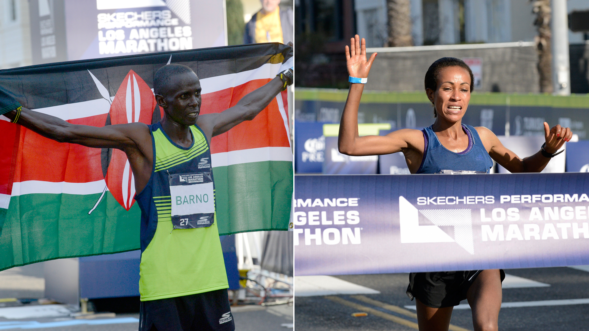 Elisha Barno, left, and Askale Merachi are seen at the end of the Los Angeles Marathon on March 24, 2019. (Credit: Jerod Harris/Getty Images for Conqur Endurance Group)