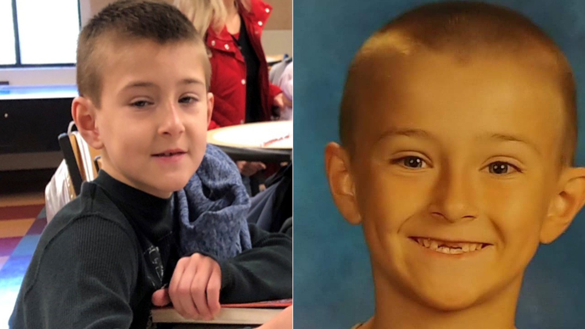 Noah McIntosh is seen in a photo released by Corona police, left, and in a photo provided by his family to KTLA.