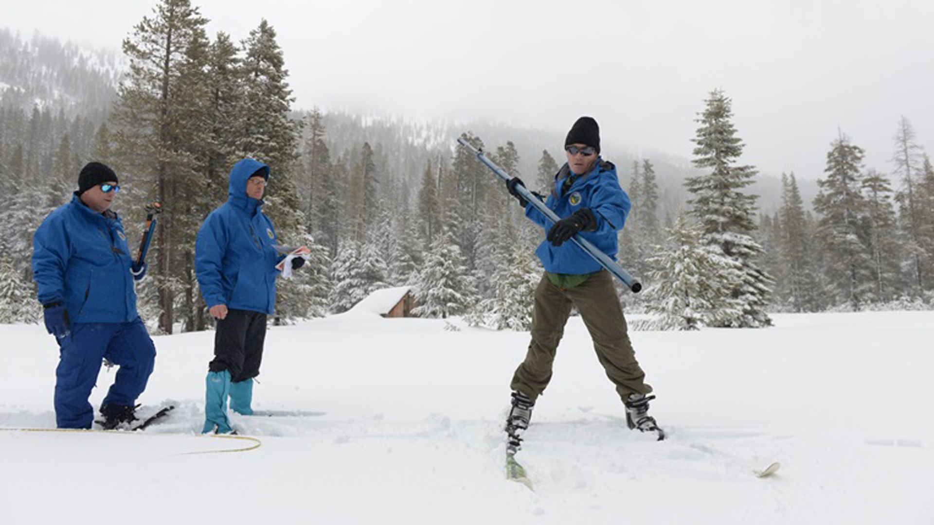 Officials conduct the third snow survey at Phillips Station on Feb. 28, 2019. (Credit: California Department of Water Resources)