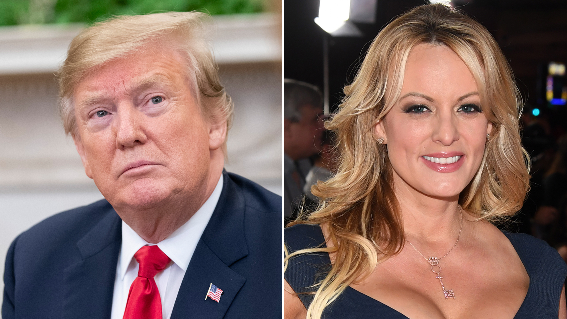 From left: President Donald Trump is seen during a meeting in the Oval Office on March 7, 2019, and director and actress Stormy Daniels attends the Adult Video News Awards in Las Vegas on Jan. 26, 2019. (Credit: Alex Edelman / Ethan Miller / Getty Images)