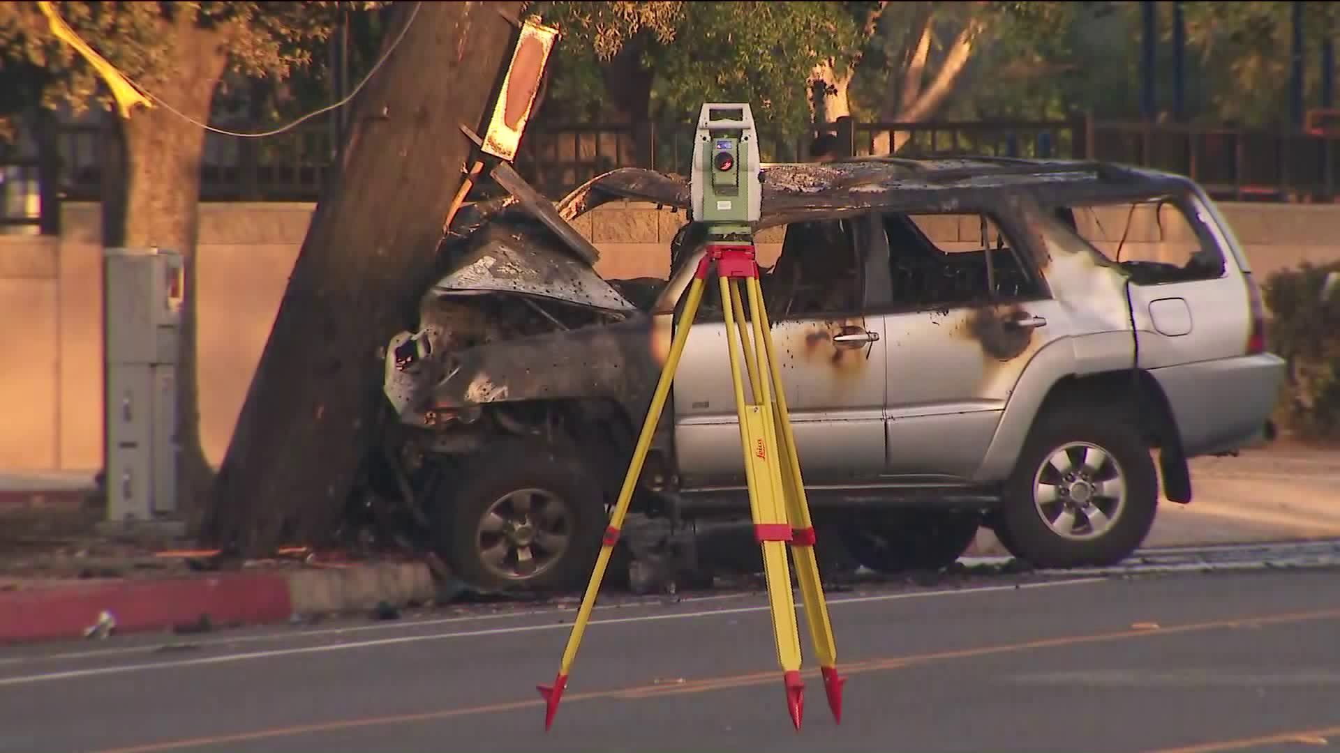 The aftermath of the fatal collision in Pomona after a car crashed into a power pole on April 12, 2019. (Credit: KTLA)