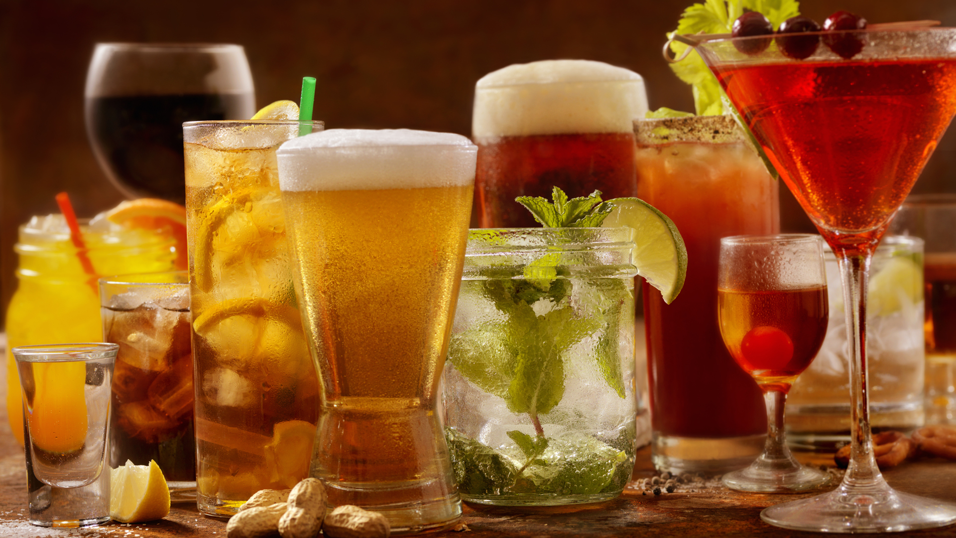 Various kinds of alcoholic drinks are seen in a file photo. (Credit: iStock / Getty Images plus)