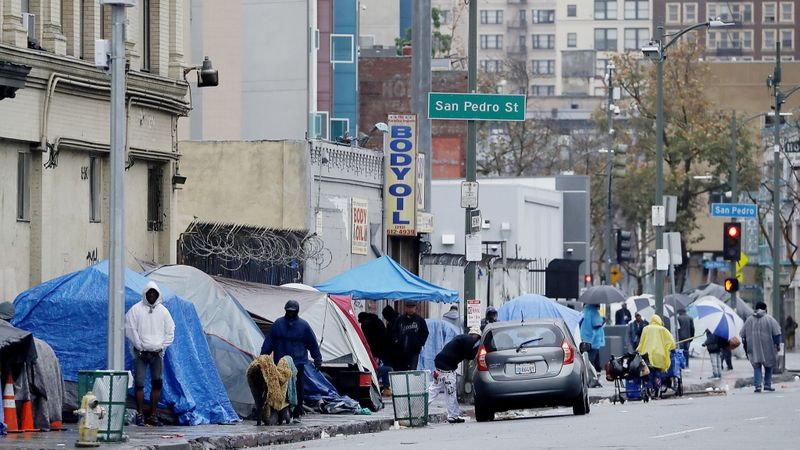 Tents are seen on the sidewalks of 5th and San Pedro streets in downtown Los Angeles in March. (Credit: Luis Sinco / Los Angeles Times)