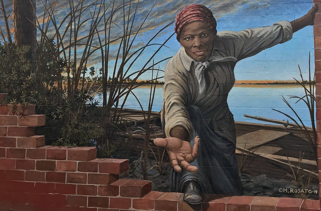 Michael Rosato's mural of Harriet Tubman is shown in a photo obtained by CNN.