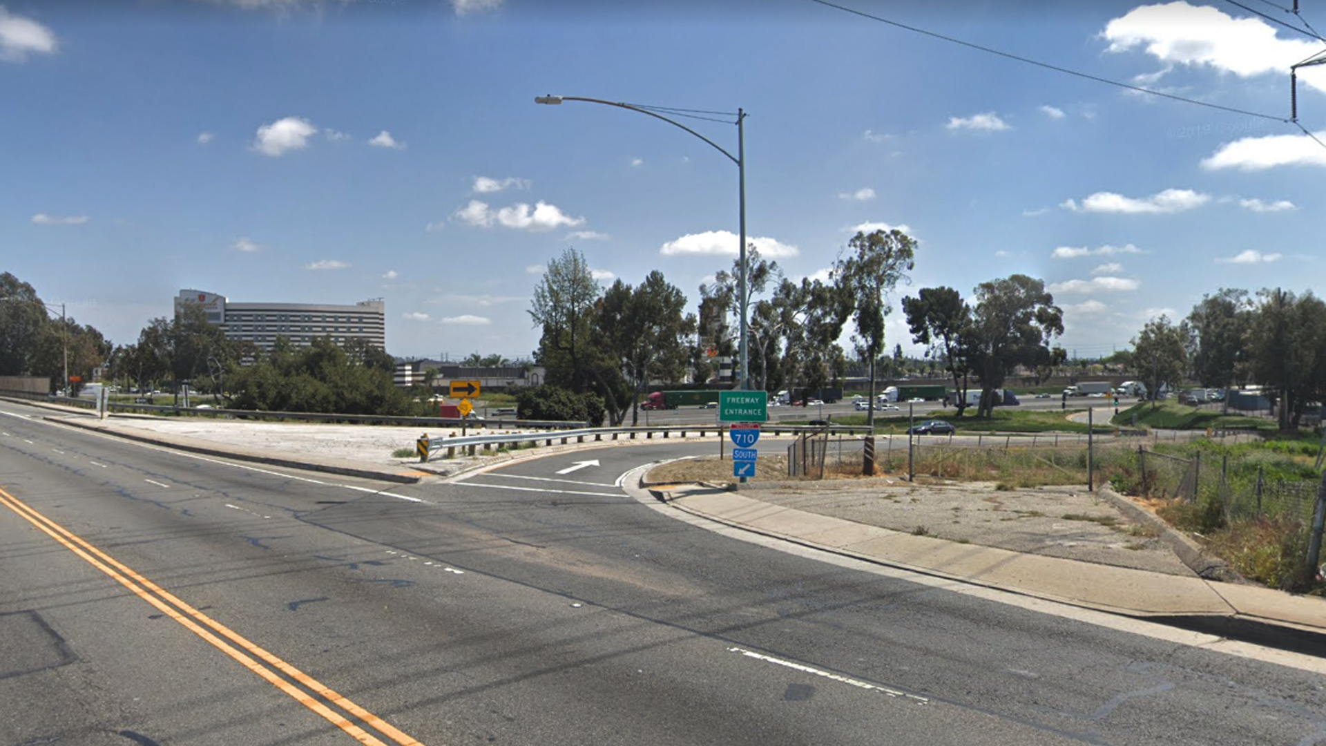 The eastbound Florence Avenue onramp to the southbound 710 Freeway in Bell, as viewed in a Google Street View image in April of 2019.