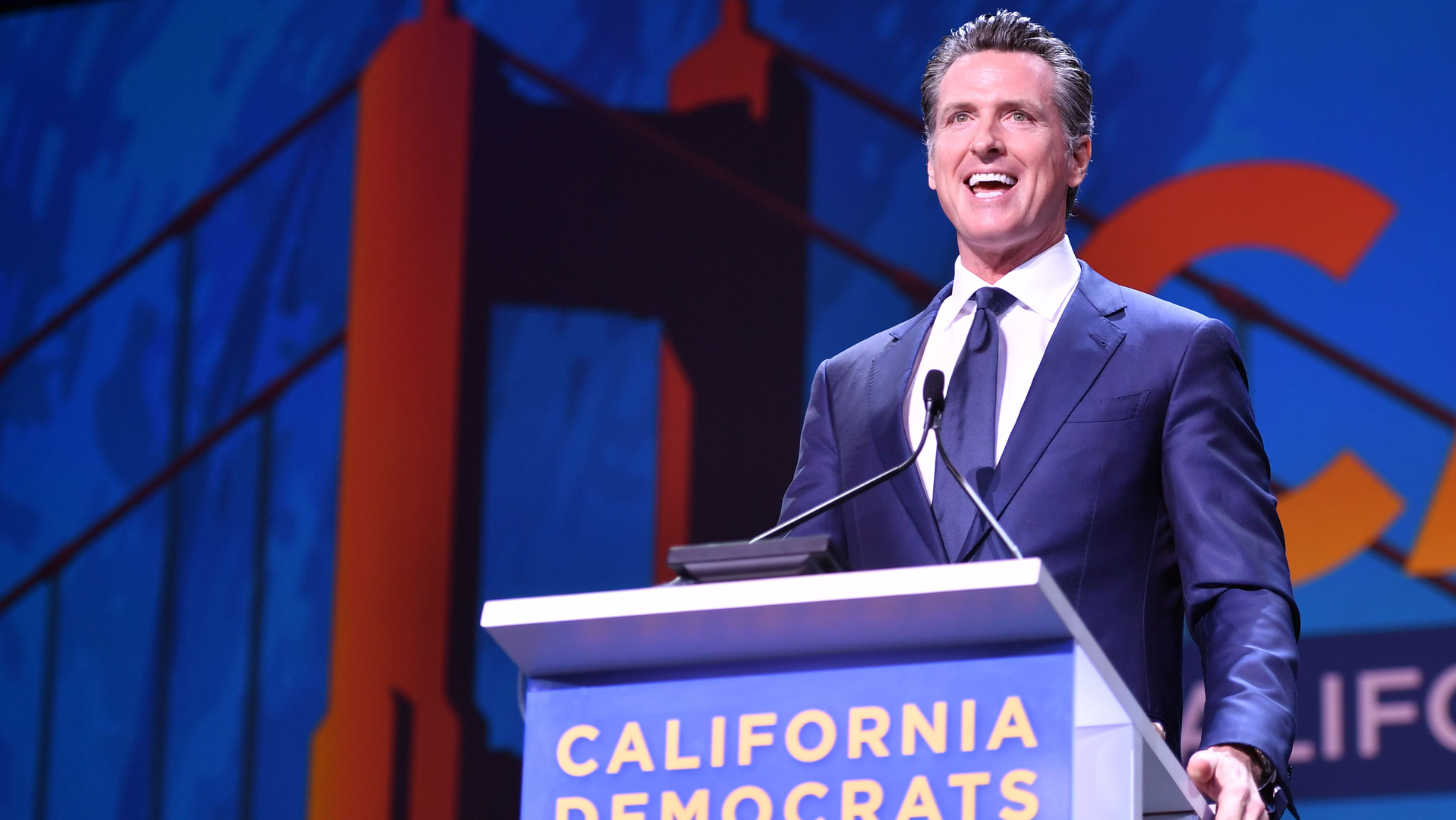 Gov. Gavin Newsom speaks during the 2019 California Democratic Party State Convention at Moscone Center in San Francisco on June 1, 2019. (Credit: JOSH EDELSON/AFP/Getty Images)