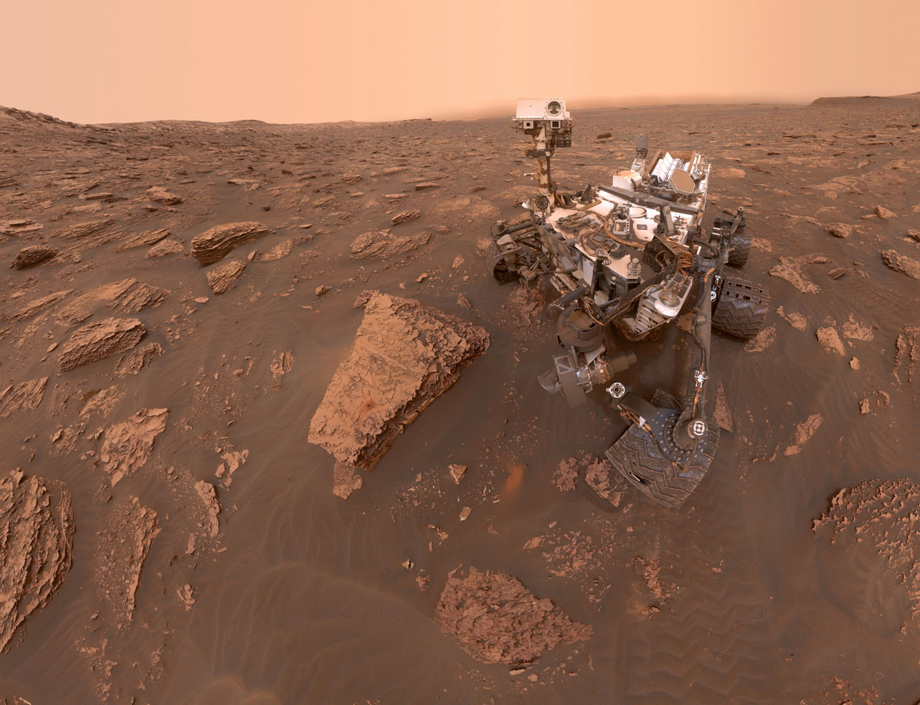 This selfie taken by NASA's Curiosity rover on Mars was released by the Jet Propulsion Laboratory in Pasadena on June 20, 2018.