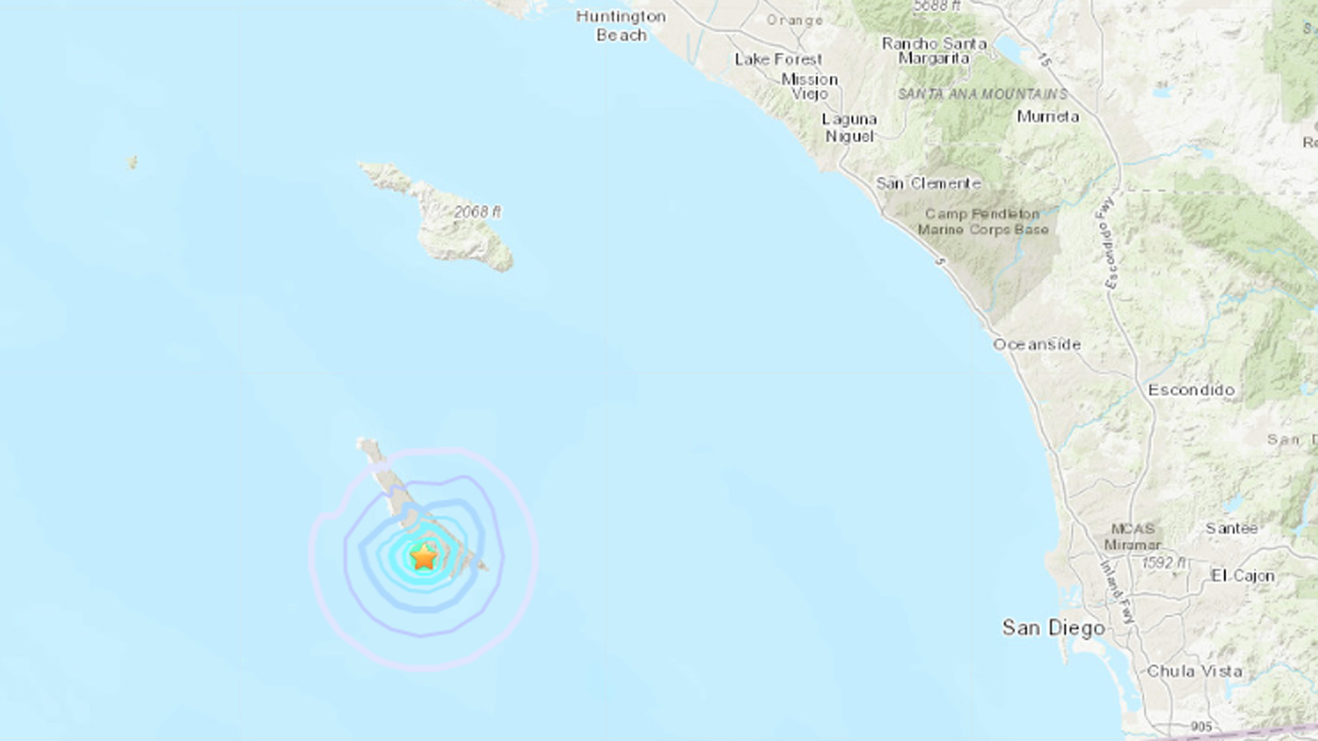A magnitude 3.5 quake hit near San Clemente Island on June 6, 2019, one day after a pair of 4.3 temblors was centered in the area. (Credit: USGS)