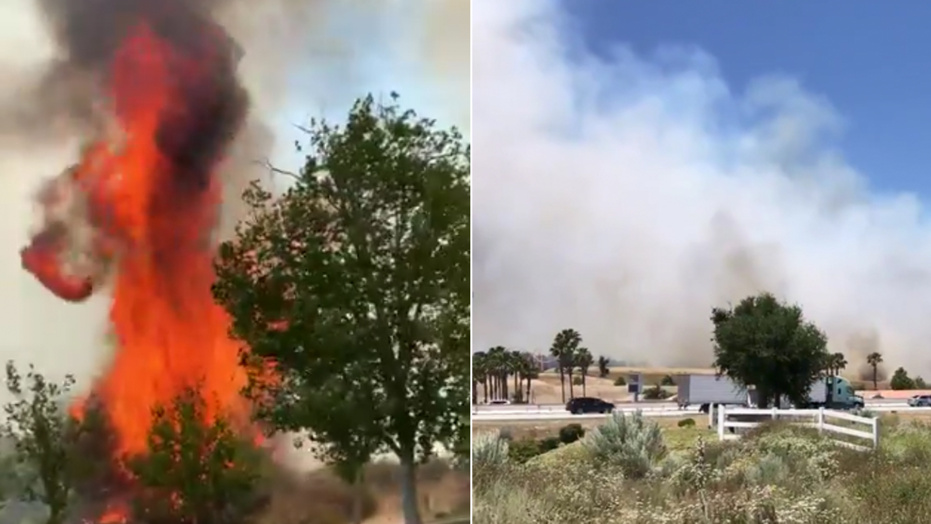 A fire is seen near Six Flags in Santa Clarita, on the left. (Credit: Christine Tonoli/Twitter) On the right, smoke billows from the fire on June 9, 2019. (Credit: City of Santa Clarita/Twitter)
