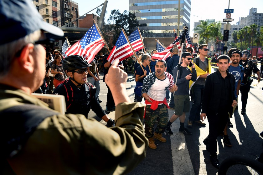 Trump supporters and anti-Trump protesters in downtown L.A. during a November 2017 rally.(Credit: Wally Skalij / Los Angeles Times)