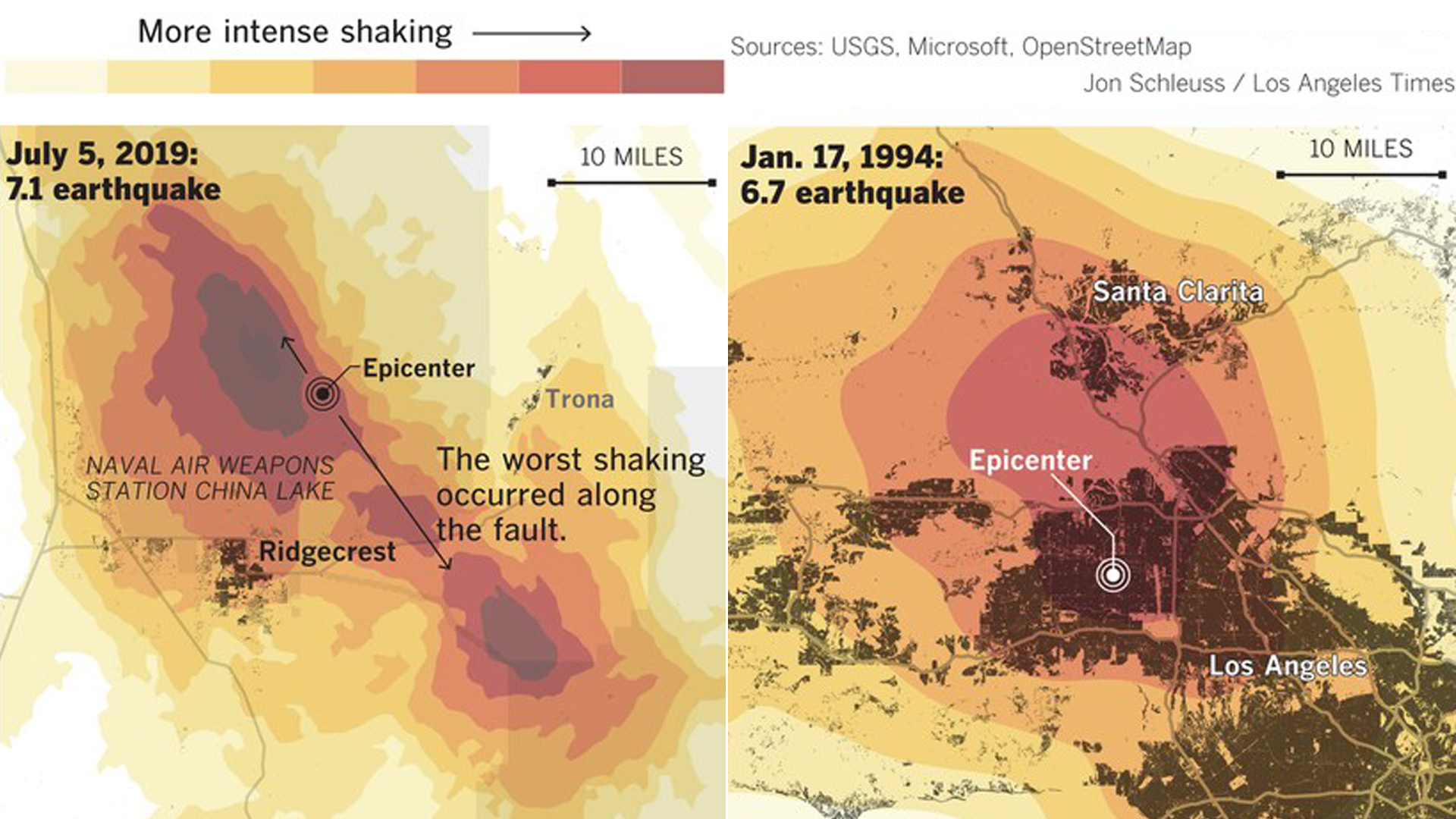 Maps compare the epicenters and impact of the 1994 magnitude 6.7 Northridge quake and the July 5, 2019 temblor that struck near Ridgecrest and Trona. (Credit: Jon Schleuss/Los Angeles Times)