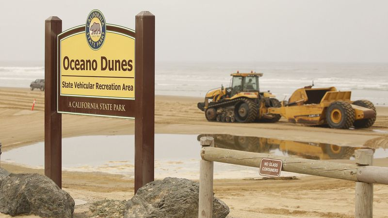 A sign marks the entrance to the dune formations at Oceano Dunes State Park in this undated photo. (Credit: Al Seib / Los Angeles Times)