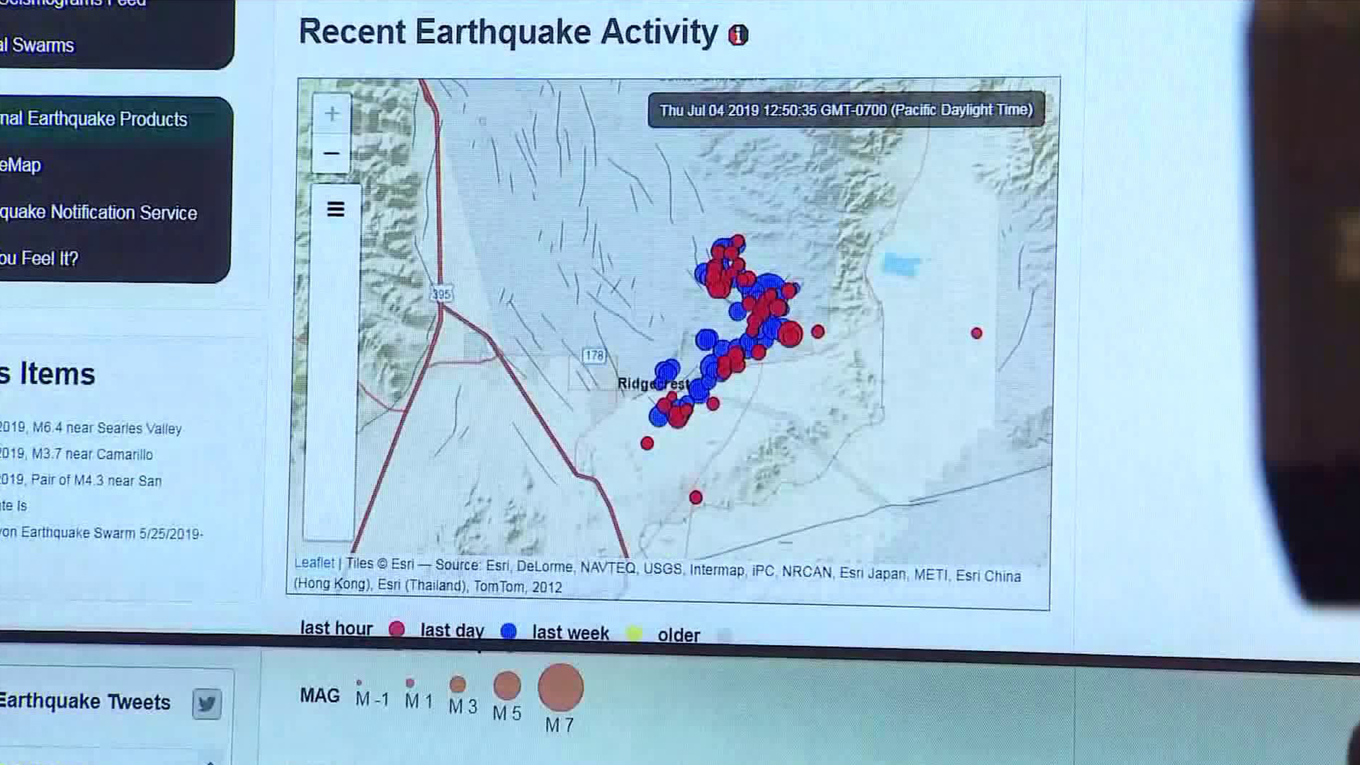 USGS officials hold a news conference about a 6.4 magnitude quake that struck the Mojave Desert on July 4, 2019. (Credit: KTLA)