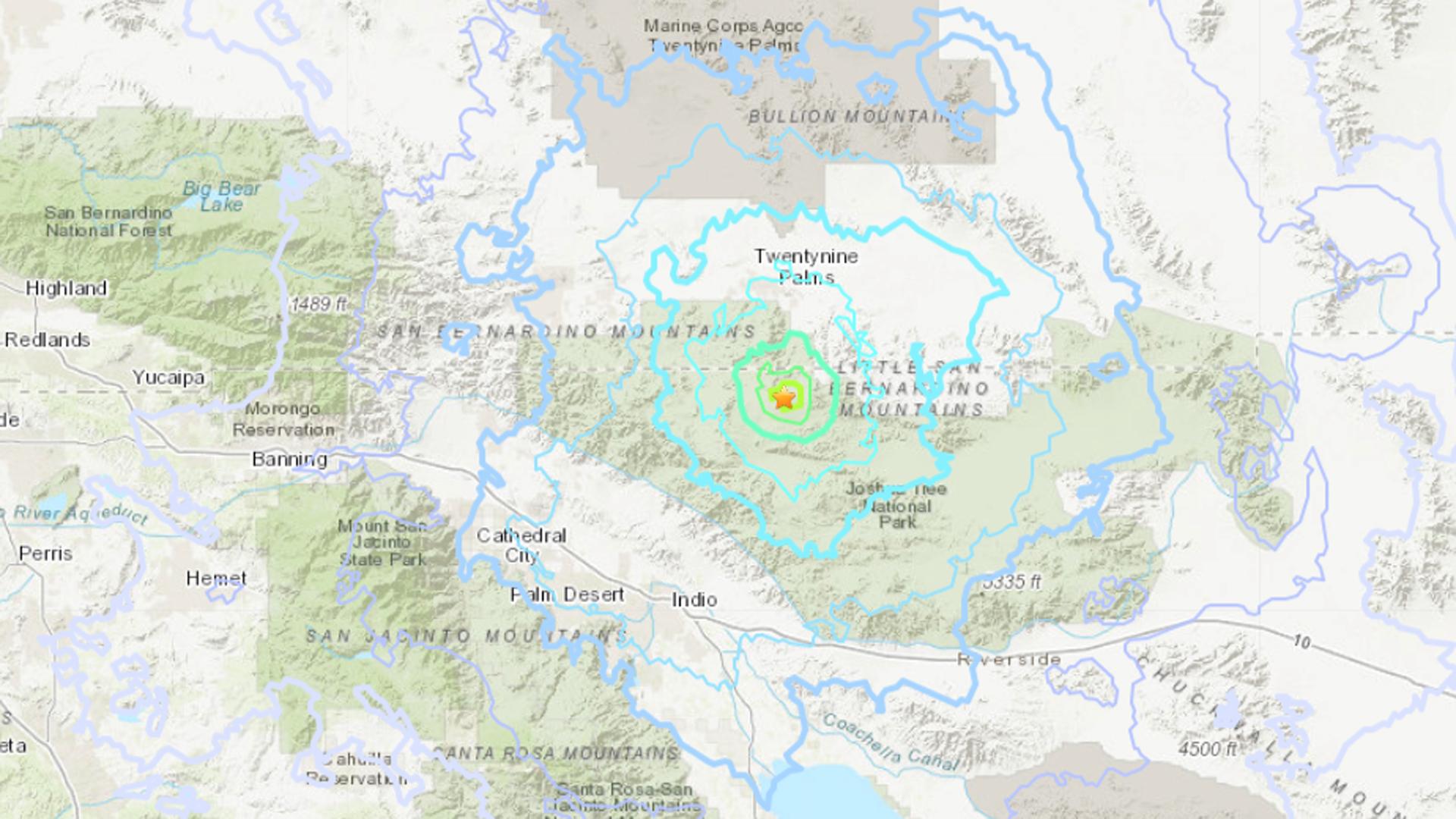 A 4.2 quake centered near Twentynine Palms hit on July 22, 2019. (Credit: USGS)