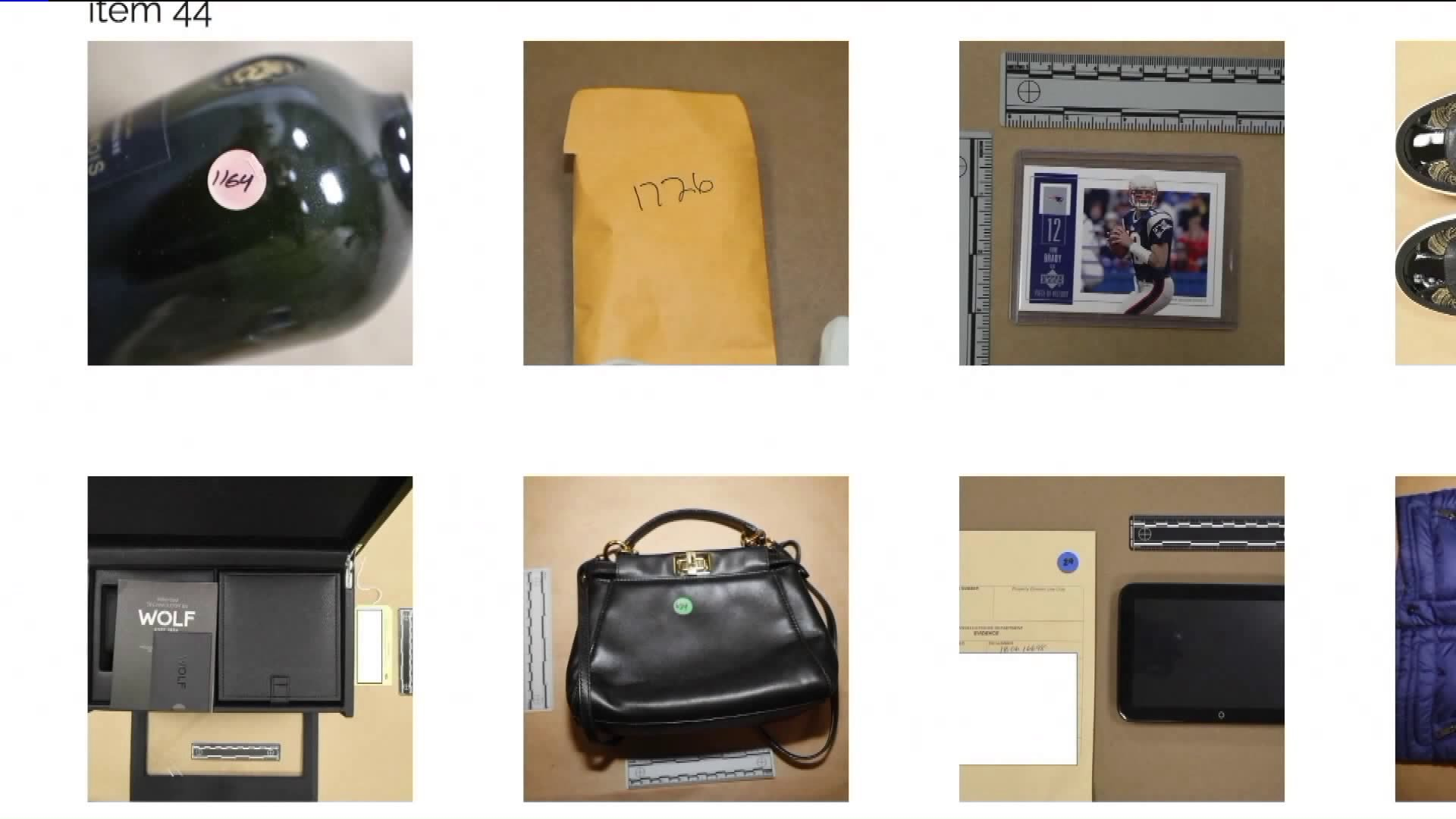 Valuables recovered as part of an investigation into burglaries targeting celebrities' homes are displayed during a Los Angeles Police Department press conference in January of 2019. (Credit: KTLA)