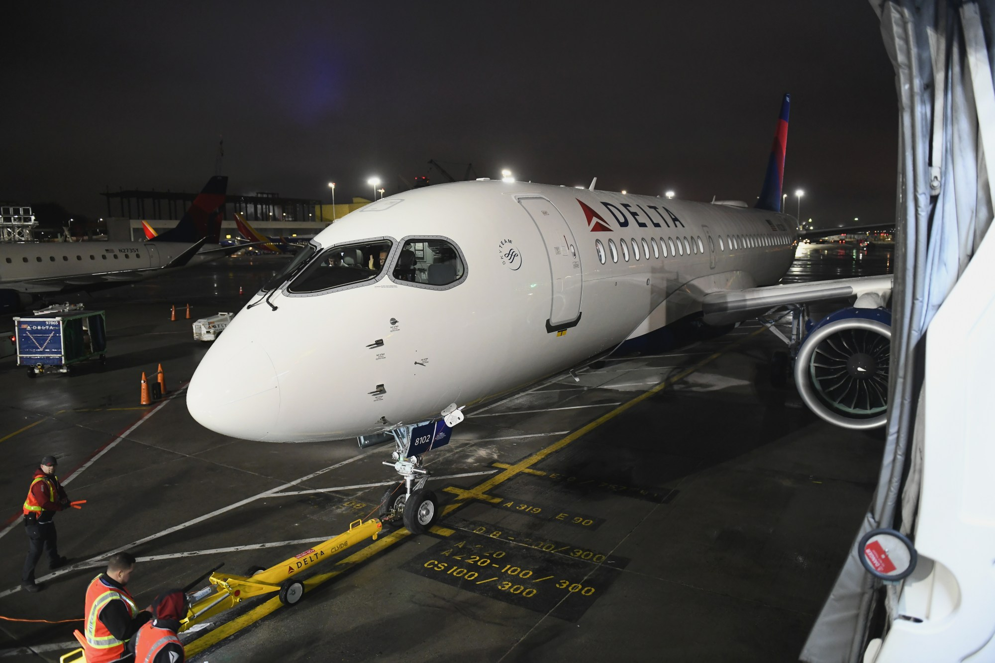 Delta Air Lines celebrates the launch of a new aircraft at LaGuardia Airport on Feb. 7, 2019, in New York City. (Credit: Noam Galai/Getty Images for Delta)