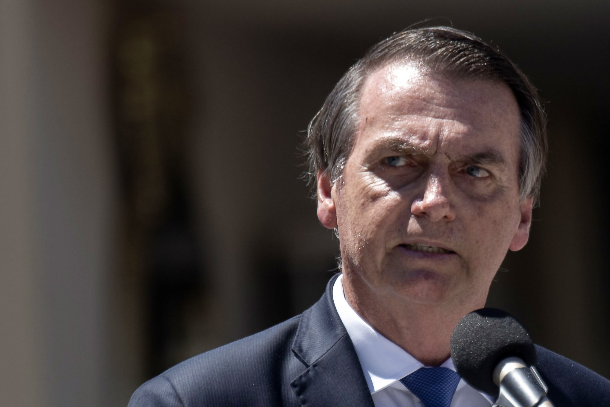 Brazil's President Jair Bolsonaro delivers a speech during an event to celebrate 211 years of the creation of the Brazilian Marine Corps in Rio de Janeiro, Brazil on March 07, 2019. (Credit: MAURO PIMENTEL/AFP/Getty Images)
