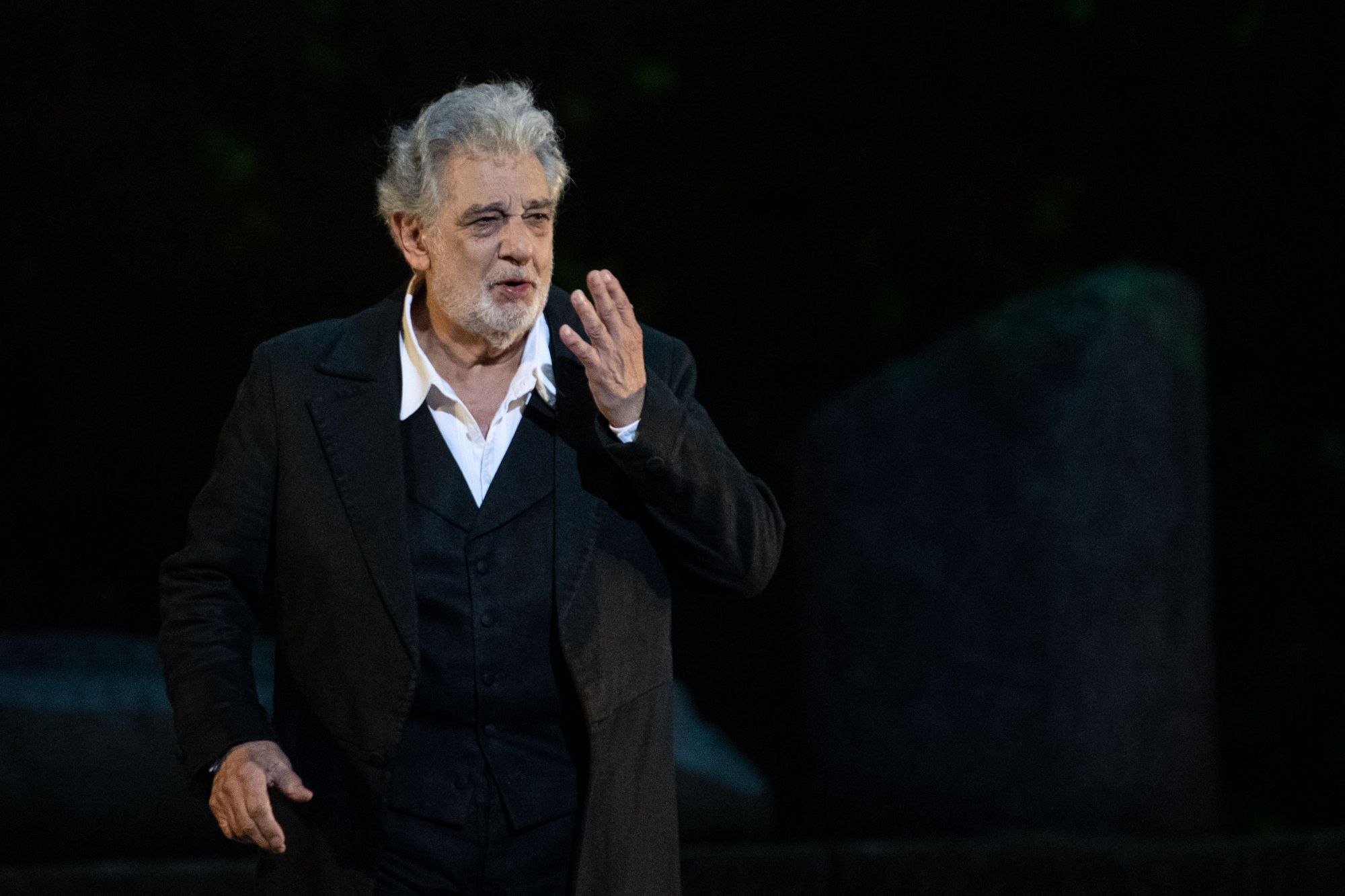 "Spanish opera singer Placido Domingo, 78, performs on stage during the dress rehearsal of ""Spanish Night"" at the 150th Choregie in Orange on July 5, 2019. (Credit: CHRISTOPHE SIMON/AFP/Getty Images)"