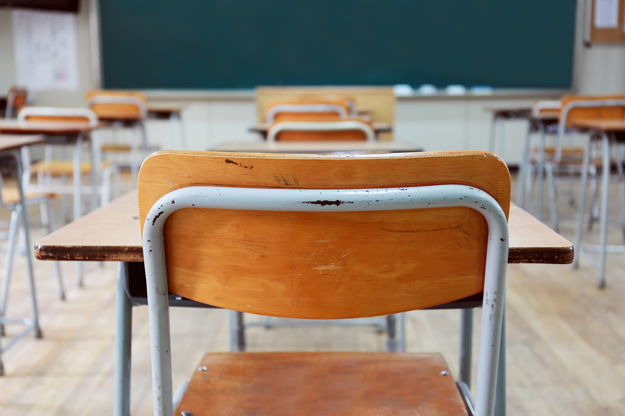 An empty classroom is seen in this file photo. (Credit: Getty Images)