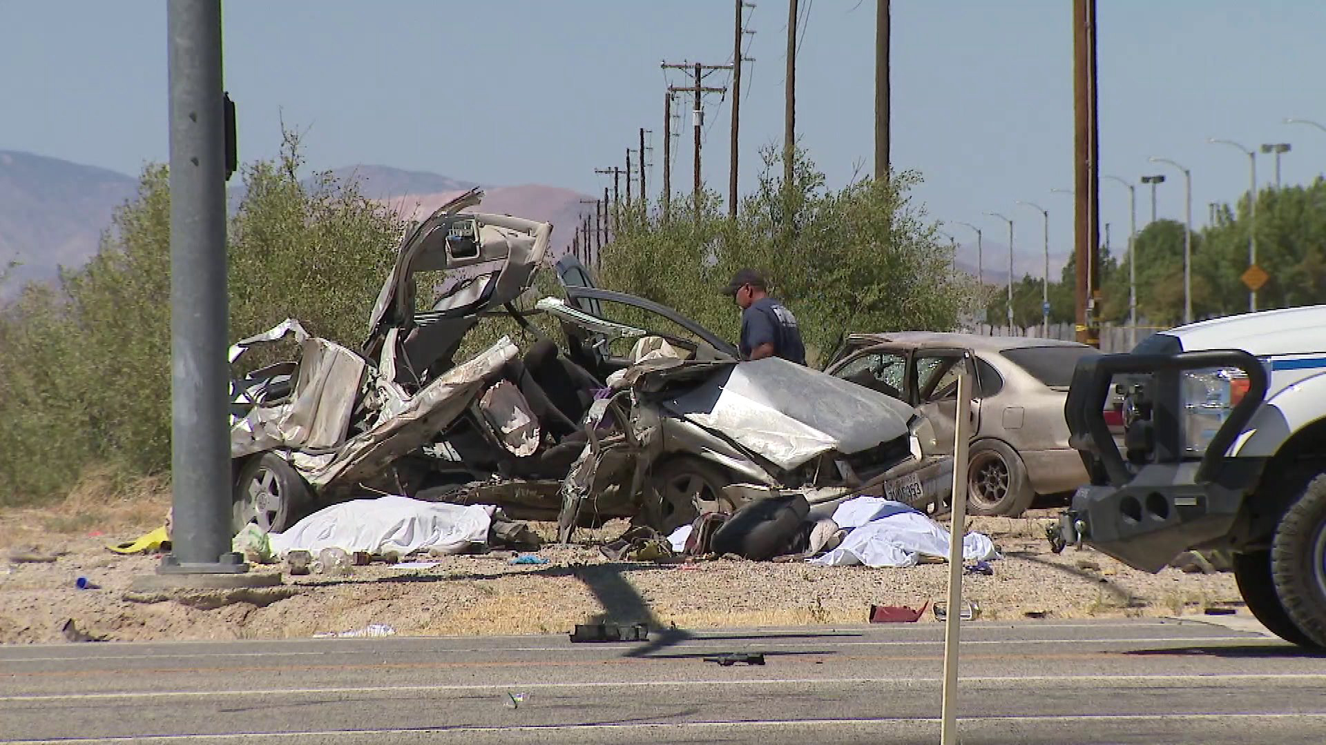 Four people and two dogs died after a violent two-car wreck in Lancaster on Aug. 14, 2019. (Credit: KTLA)