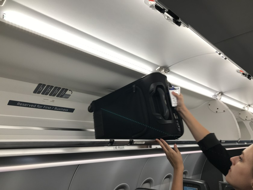 The AB321 Neo plane offers overhead bins that can hold 40% more luggage that older versions of the plane. It is shown in this undated photo. (Credit: Hugo Martin / Los Angeles Times)
