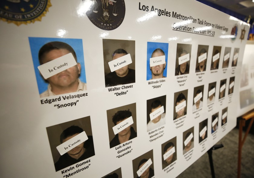 A poster shows defendants in custody as law enforcement officials announce the unsealing of a federal racketeering indictment targeting Los Angeles-based members of the MS-13 gang on July 16, 2019. (Credit: Al Seib / Los Angeles Times)