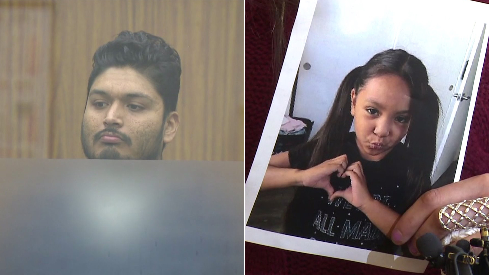 Pedro Araujo, left, appears in a San Diego County courtroom on Aug. 6, 2019. At right, a relative holds a picture of his slain daughter Mariah Araujo at a press conference on July 31, 2019. (Credit: KTLA)