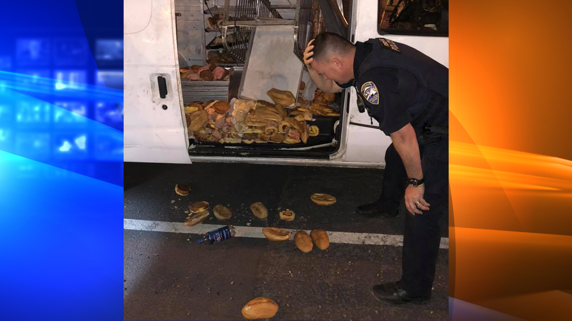 Redding police released this photo of an officer reacting to the destroyed pastries.