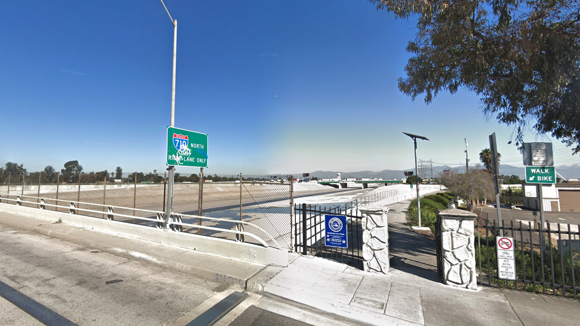 The Los Angeles River in South Gate is seen looking north from Imperial Highway in a Google Maps Street View image.