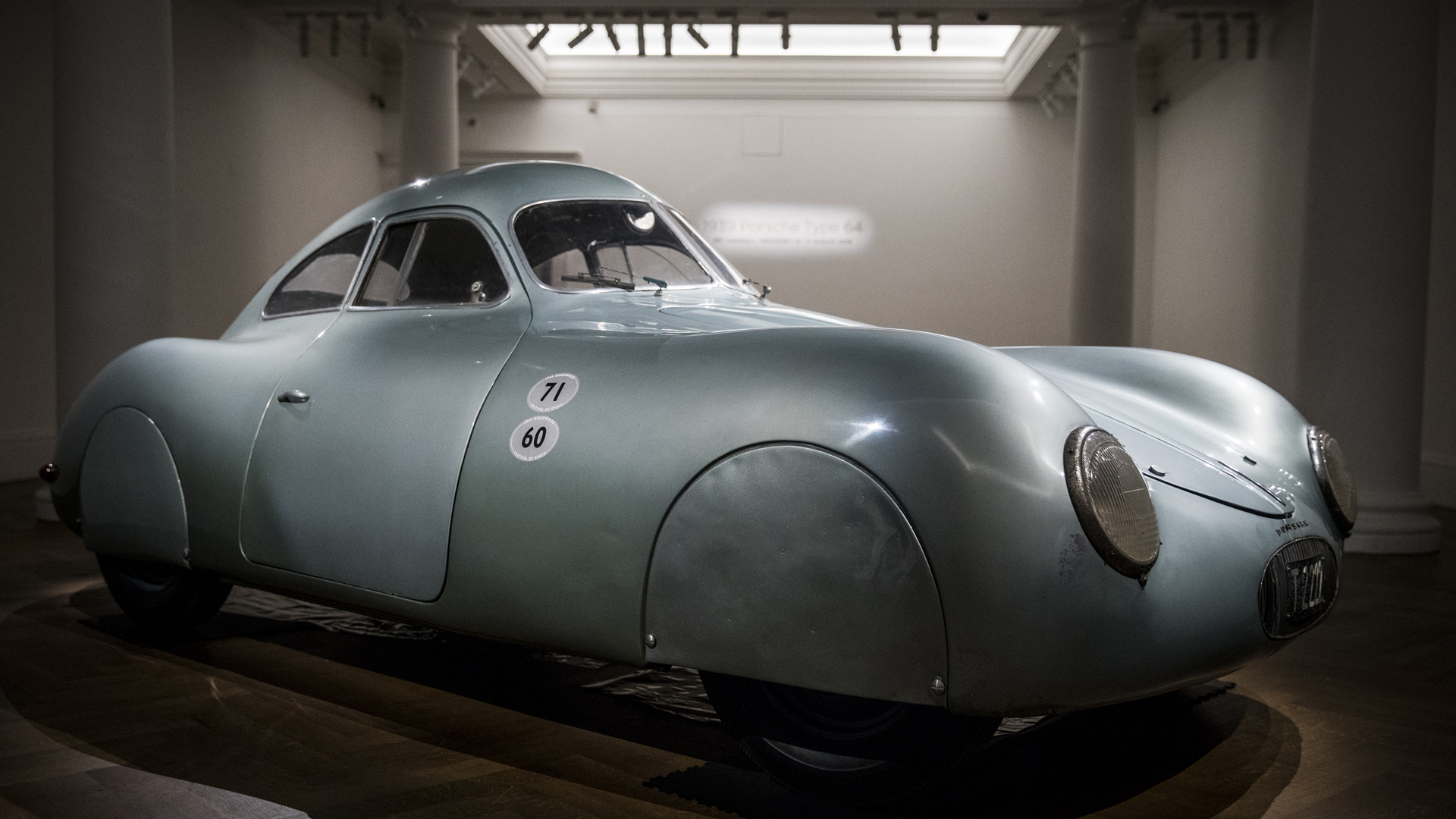 The oldest car to wear the Porsche badge goes on view at Sotheby's on May 21, 2019 in London, England. The only surviving 1939 Porsche Type 64 Berlin-Rome, No. 3, this rare piece of motoring history was the personal car of Ferdinand and Ferry Porsche, predating the first production Porsche, the 356. (Credit: Tristan Fewings/Getty Images for Sotheby's)